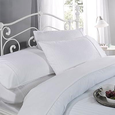 Louisiana Bedding Astoria Duvet cover Set 100% cotton Sateen Stripe 300 Thread Count White - low-cost UK light store.