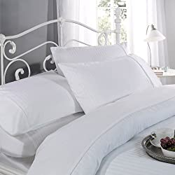 Ritz 12397134 - Funda de edredón de satén, juego de rayas de algodón de 300hilos, 220cm x 260cm, color blanco