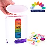 Coardor Pill Box Medicine Organiser 7 Days Tablet Dispenser Plastic Container for Weekly AM and PM Reminder Sorter Box Timer with 4 Multi Compartments Storage Rainbow Travel Morning Night 4 Times Dail