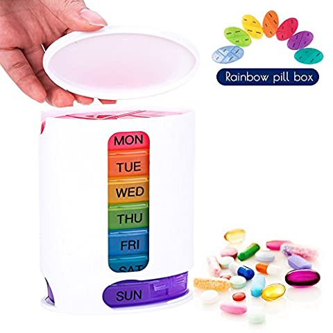 Coardor Pill Box Organiser Tablet Dispenser for 7 Days Weekly Medicine Reminder Sorter Box Timer with 4 Multi Compartments Storage Rainbow Travel Morning Night AM and PM 4 Times a Day Large