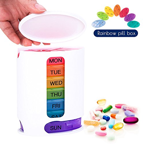 Coardor Caja de Pastillas Para 7 Días Píldoras Dispensador de Organizador Para Semanal Con 4 Compartimentos Medicina Almacenamiento Color del Arco Iris