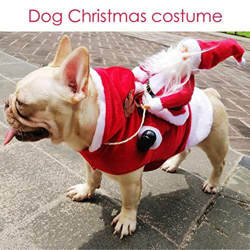 evergremmi Haustier Hund Weihnachten Kleidung, Santa Hund Kostüm, Hundekleidung Party putzt Sich Weihnachten Kleidung für kleine große Hunde Katzen Kleidung Haustier Outfit (Santa Kostüm Für Hunde)