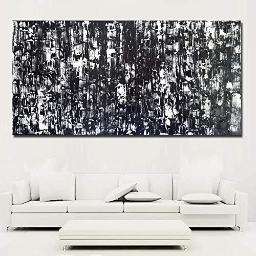 Cyalla Leinwand Abstrakte Kunst Schwarz Und Weiß Malerei Moderne Malerei Gedruckt Auf Leinwand Poster Wohnkultur Rahmen 50X100 cm (Schwarz Und Halloween-nagel-kunst Weiß)