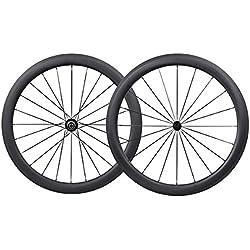 IMUST 700C Carbono Carretera Bicicleta 50 mm Clincher Tubeless Ready Rueda Powerway Hub R13 CN Habl¨®