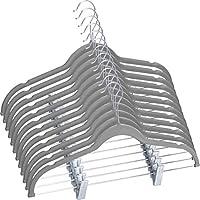 Utopia Home [30 Pack] Velvet Skirt Hangers - Trouser Hangers with Adjustable Clips - Non Slip Pants Hanger (Grey)