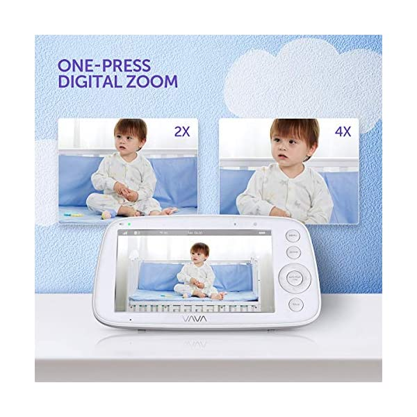 "Baby Monitor, VAVA 720P 5"" HD Display Video Baby Monitor with Camera and Audio, IPS Screen, 480ft Range, 4500 mAh Battery, Two-Way Audio, One-Click Zoom, Night Vision and Thermal Monitor VAVA 【High quality 5-inch baby monitor】Equipped with an advanced 5-inch LCD screen and 720P HD camera, the image quality is 10 times higher than the traditional 240P display baby monitor. When your baby moves, it can move 270° horizontally or 110° vertically, and can also zoom in 2x and 4x. It also has full-color images of the day and grayscale infrared images of the night, so you can clearly see all the subtle movements of your little baby. 【Up to 24hr Battery Life】 VAVA Baby monitor built in 4500mAh rechargeable battery lasts for 12hrs in display mode, 24hrs with the display turned off for full-day monitoring of your baby. 【Effortless Monitoring】 LED noise indicators and an external thermostat keep you accurately updated on your baby's wellbeing; set to the highest to alert even the heaviest sleeper or set to low volume to hear only loud noises with 7 volume levels.When your baby is crying, you can immediately respond to the walkie-talkie system to calm your baby. 3"