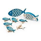 SET Tisch-Deko 8 Teile maritim: 6 Stück kleine blaue Deko-KLAMMERN FISCHE + 2 Deko Holz-FISCHE zum Hinstellen 13 x 6 + 10 x 5 cm als Dekoration zur Taufe oder als Tischschmuck zum Kinder-Geburtstag