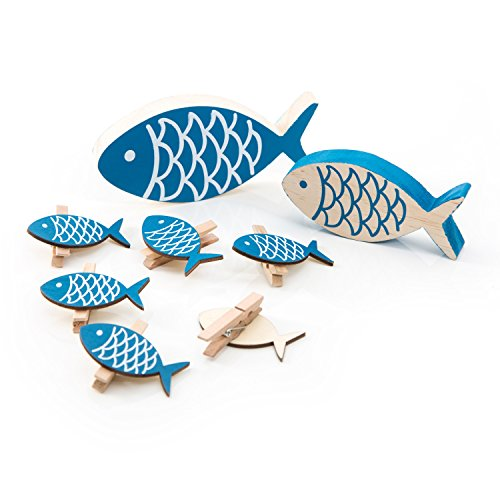 le maritim: 6 Stück kleine blaue Deko-KLAMMERN FISCHE + 2 Deko Holz-FISCHE zum Hinstellen (13 x 6 + 10 x 5 cm) als Dekoration zur Taufe oder als Tischschmuck zum Kinder-Geburtstag (Nautische Hochzeit Einladungen)