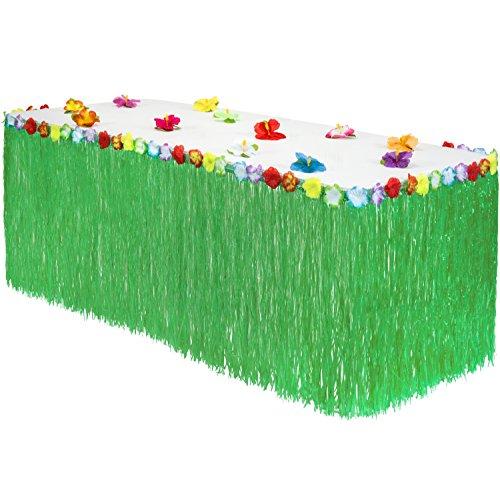 Hawaiian Luau Gras Tisch Rock: Bonus 12Hibiskus Blumen | Einfach Setup| Perfekt, Strand, Tiki, Tropischen Insel, Party, Luau, Hawaiian Dekorationen 9ft