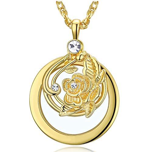 QMKJ Schmuck Frauen Pendant Sweater Chain Long Neckles Pendant Magnifying Glass Valentines Gifts Allergen-frei,Gold