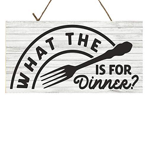 Yilooom Holzschild mit Aufschrift What The Fork is for Dinner, rustikales Holzschild, Wanddekoration, Kunst, Bauernhaus-Dekoration, Geschenk, 17,8 x 30,5 cm, Holz, Multi, 14x24 inch / 35x60 cm Kunst-dinner