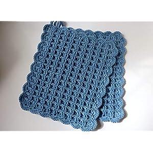 Topflappen, Waffelmuster, gehäkelt, blau (247)