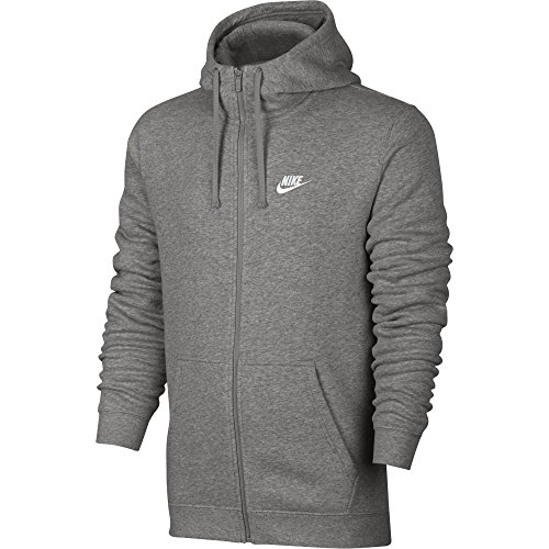 Nike Herren Unterjacke Kapuzenpullover Sweat Hoodie, Dark Grey Heather/Dark Grey Heather/White, S