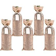 5 Pack Bolsa de Vino de Arpillera Bolsa de Regalo de Botella de Vino con 5