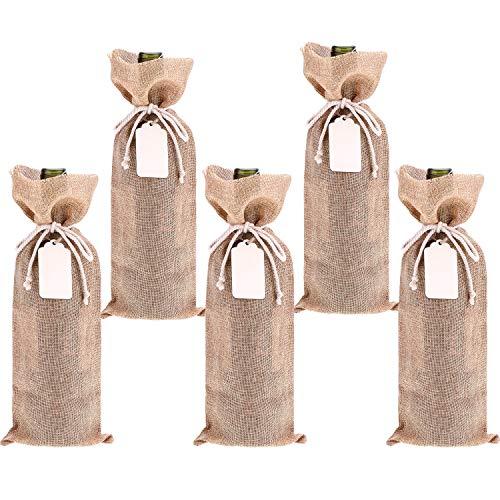 Chengu 5 Packung Sackleinen Wein Taschen Weinflasche Geschenkbeutel mit 5 Stück Holz Tags und 10 Stück Seile für Geburtstag Hochzeit Gefälligkeiten