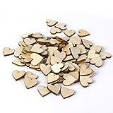 ULTNICE 50stk Unlackiert Natürliche Herz Holzscheiben Scheiben für Hochzeit DIY Handwerk Embellishments (Holz Farbe)