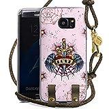 DeinDesign Samsung Galaxy S7 Edge Carry Case Hülle zum Umhängen Handyhülle mit Kette Heart Herz Schwert