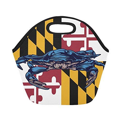 Isolierte Neopren-Lunch-Tasche Maryland State Flag USA-Format Große wiederverwendbare thermische dicke Lunch-Tragetaschen Für Lunch-Boxen Für draußen, Arbeit, Büro, Schule - Zustand Thermische