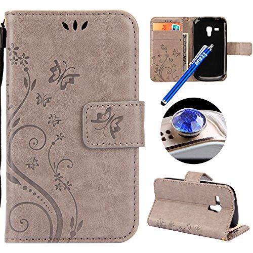 Etsue Kompatibel mit Samsung Galaxy S3 Mini Handy Hülle Schmetterling Blumen Muster Flip Case Cover Schutzhülle Wallet Tasche Leder Hülle Bookstyle Klapphülle Magnetisch Ständer Kartenfächer,Grau -
