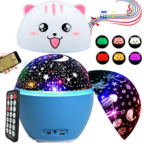 16 Modos Lámpara Proyector Estrellas ENONEO Músic Lámpara de Nocturna Estrellas con Temporizador y Control Remoto Luz de Noche Bebé Cielo Estrellado Mundo Submarino Proyector Lámpara Niños (Azul)