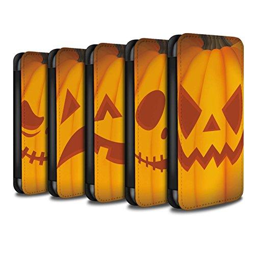 Stuff4 Coque/Etui/Housse Cuir PU Case/Cover pour Apple iPhone X/10 / Mal Design / Citrouille Halloween Collection Pack 5pcs