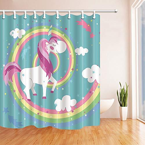 Nyngei Impresión Digital 3D Animales Dibujos Animados Decoración Unicornios en Rainbow Circle para Chica Adolescente Cortinas baño Tela poliéster Baño Impermeable 180X180CM Ganchos