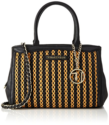 TRUSSARDI JEANS by Trussardi 75bm0153, sac à main Nero (Orange/Black)