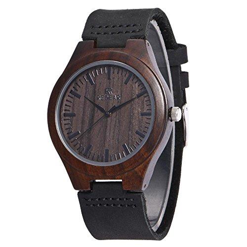 Hölzerne Uhr, CONMING natürliche Bambus Uhr aus Holz Handgefertigte Holzmaserung echte Rindsleder Band Vintage japanische Quarzwerk Armbanduhr