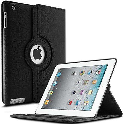 iPad 2 3 4 Hülle,Infiland PU Ledertasche lederhülle 360°Drehbarer Stand Smart Cover Case Schutzhülle Tasche Etui für Apple iPad 2,iPad 3, iPad 4(mit Auto Schlaf / Wach Funktion)(Schwarz)