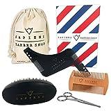 Coffret Barbe par Sapiens : Kit Entretien Barbe avec Brosse à Barbe, Peigne à Barbe, Pochoir à Barbe et Ciseaux + Ebook Offert