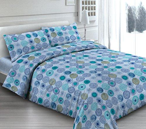 Smartsupershop Housse de Couette avec taies d'oreiller pour lit - Cercles Bleu - Y Compris sous avec Coins en coordonné - en Coton Fabriqué en Italie