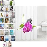 Sanilo Duschvorhang, viele schöne Duschvorhänge zur Auswahl, hochwertige Qualität, inkl. 12 Ringe, wasserdicht, Anti-Schimmel-Effekt (Wellness, 180 x 200 cm)