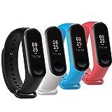 Fit-power Ersatz-Armband für Xiaomi Mi Band,Smart-Watch-Armband (nicht für MI Band 2/1S), 3 Stück, Miband3-Pack of 4A