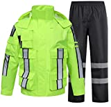 SK Studio Hohe Sichtbarkeit Erwachsenen Regenjacke Arbeit Regenanzug Wasserdicht Atmungsaktiv Reflektierend Sicherheitsjacke Warnschutz Regenbekleidung Neongrün 2 M
