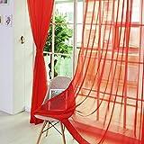 Fenster Vorhang Sheer, bunt, floral Tüll Voile Tür Vorhang Panels für Wohnzimmer, Voile Vorhang Panel (1, Rot)