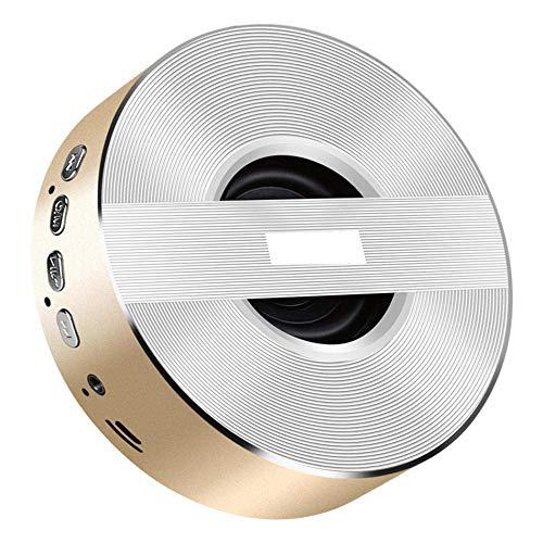 BILLY'S HOME Tragbarer Bluetooth-Lautsprecher, Mini Wireless Heavy Bass Music Player Outdoor Car Subwoofer mit Mikrofon, TF Card Support, Hands Free for Phone,Gold