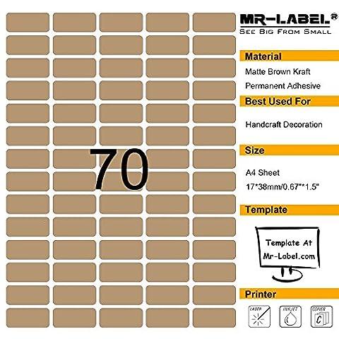 Mr-Label® 70 Pcs Blank Kraft Labels -Self Adhesive Stickers pour la décoration cadeau | main artisanale | Finishing Touch (Taille: 38 * 17mm) (10 feuilles / 700 étiquettes)