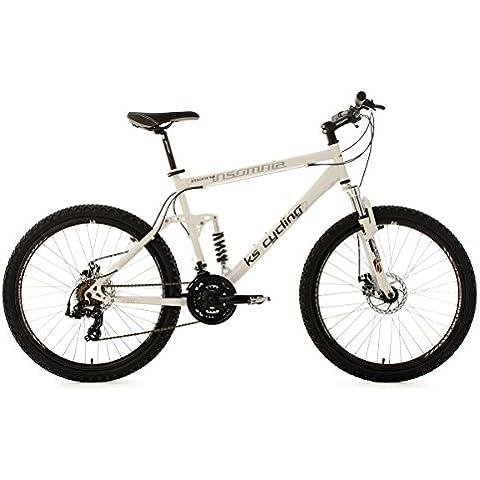 KS Cycling Insomnia 101B - Bicicleta de montaña de doble suspensión, color blanco, talla L (173-182 cm), ruedas 26