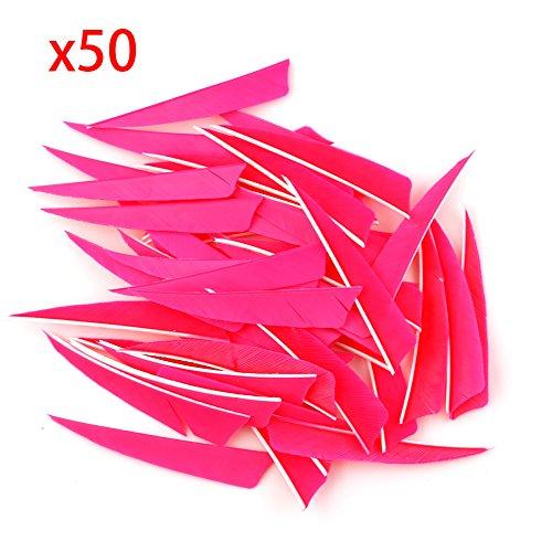 """VERY100 50 Stück Naturfedern Federn Shield Cut 4\"""" RW Truthahnfedern Pfeilfedern (Rosa)"""