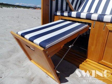 Strandkorb XXL – Luxusstrandkorb – aus Holz und Polyrattan (Blau) - 4