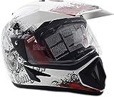 #4: Vega Off Road Gangster ORDVDBR1113 Helmet with Single Visor (White and Red, M)