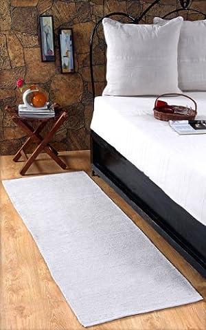 Homescapes waschbarer Chenille Teppich Vorleger 66 x 200 cm aus 100% reiner Baumwolle, Farbe: naturweiß/creme, pflegeleicht und