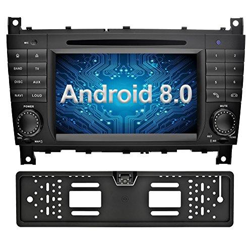 Ohok 7 Pulgadas 2 Din Autoradio Android 8.0.0 Oreo Octa Core 4GB Ram 32GB Rom Reproductor DVD / GPS Navegador Radio Soporta Bluetooth WIFI AV-IN SWC Para Mercedes-Benz C-Class W203 / Benz CLK W209 con Camara de Marcha Atras