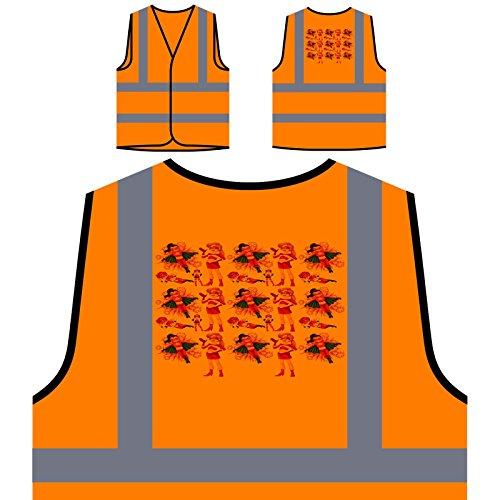 Nahtlose weibliche superheld rot Personalisierte High Visibility Orange Sicherheitsjacke Weste g807vo