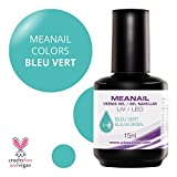 MEANAIL PARIS GEL COLOR 15 ml - Smalto Semi Permanente asciugatura rapida con tutte le Lampade UV/LED - Durata assicurata fino a 3 settimane - Disponibile in 48 nuance sublimi - Verde acqua - C178