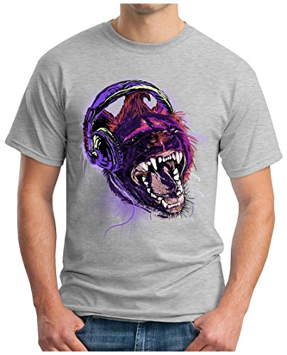 OM3 - WILD-MUSIC - T-Shirt HEADPHONE LION DOPE ALTERNATIVE PUNK INDIE EMO GEEK, S - 5XL Grau Meliert