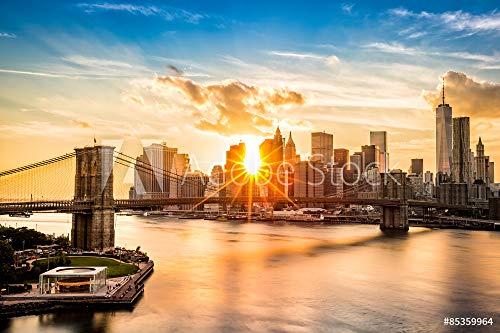 Lower Manhattan Skyline (druck-shop24 Wunschmotiv: Brooklyn Bridge and The Lower Manhattan Skyline at Sunset #85359964 - Bild als Klebe-Folie - 3:2-60 x 40 cm / 40 x 60 cm)