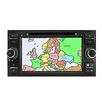 IAUCH 7 Inch Double 2 Din Car GPS DVD Player Sat nav Navigation FM Radio Multimedia System Sat Nav Head Unit for FORD TRANSIT FOCUS C-MAX S-MAX FIESTA GALAXY FUSION FIESTA Wifi BT RDS USB SD