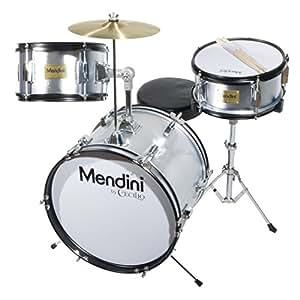 Mendini MJDS-3-SR Kinderschlagzeug Komplett Set 40,6 cm (16 Zoll) metallisch silber