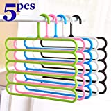 VNC Multipurpose Multi-Layer 5-in-1 Plastic Hanger Clothes Organiser for Wardrobe, Shirts, Ties, Pants Space Saving Hanger, Cupboard Storage, Strong (Pack of 5)